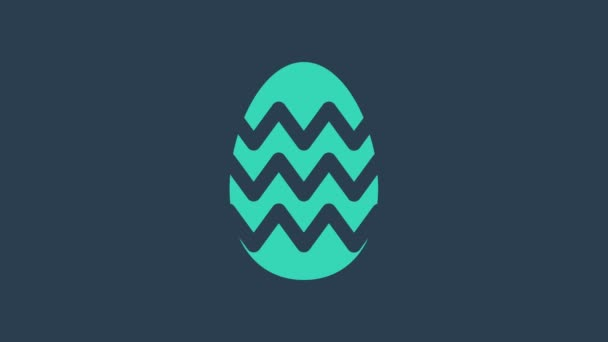 Turquoise Easter egg icon isolated on blue background. Happy Easter. 4K Video motion graphic animation
