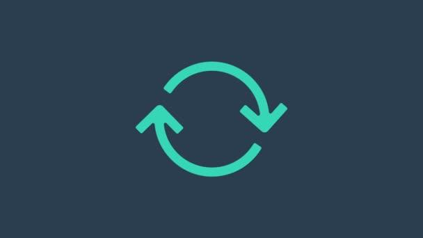 Türkis Refresh Symbol isoliert auf blauem Hintergrund. Symbol neu laden. Rotationspfeile in einem Kreiszeichen. 4K Video Motion Grafik Animation