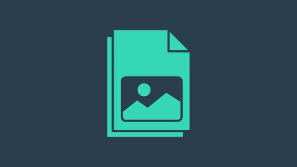 Tyrkysová Obrázek krajina ikona izolované na modrém pozadí. Grafická animace pohybu videa 4K