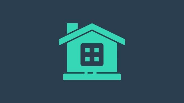 Türkiz ház ikon elszigetelt kék háttérrel. Otthon szimbólum. 4K Videó mozgás grafikus animáció