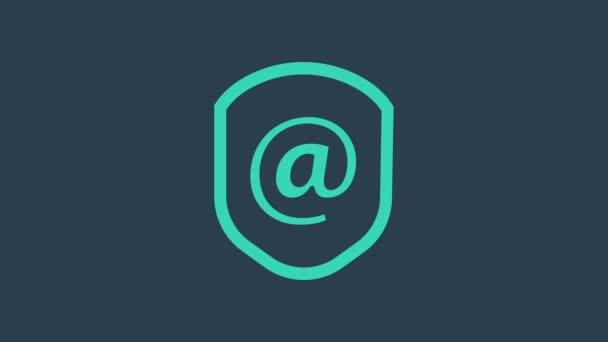 Tyrkysový štít s ikonou pošty a e-mailu izolovanou na modrém pozadí. Strážní znak. Zabezpečení, bezpečnost, ochrana, ochrana soukromí. Grafická animace pohybu videa 4K