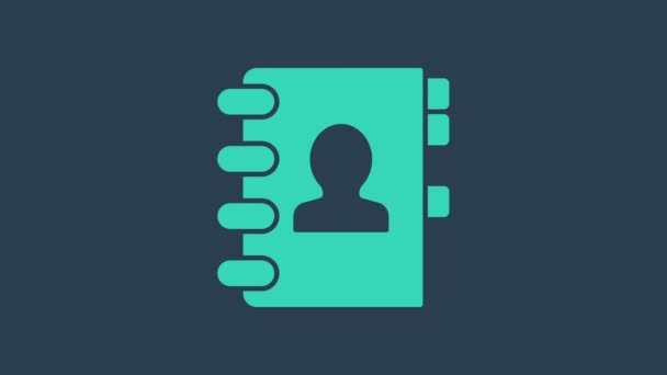 Turquoise Address book icon isolated on blue background. Notebook, address, contact, directory, phone, telephone book icon. 4K Video motion graphic animation