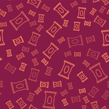 Brown line Wet wipe pack icon isolated seamless pattern on red background.  Vector. icon