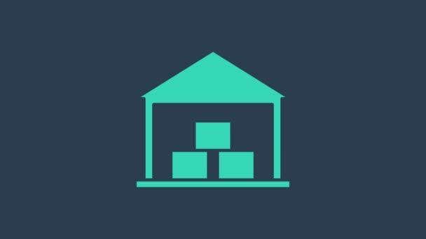 Tyrkysová ikona Skladiště izolovaná na modrém pozadí. Grafická animace pohybu videa 4K