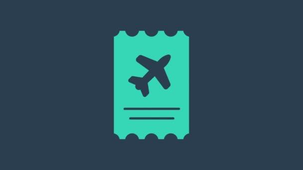 Turquoise Airline jegy ikon elszigetelt kék alapon. Repülőjegy. 4K Videó mozgás grafikus animáció