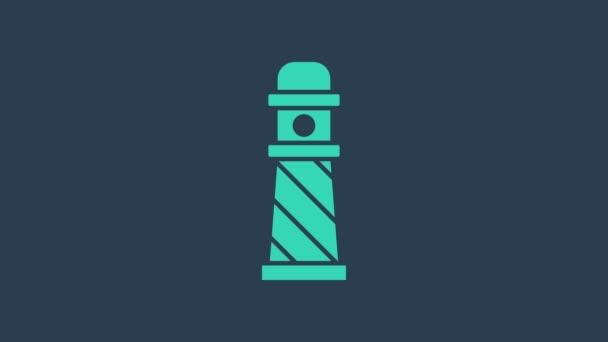 Tyrkysová ikona majáku izolovaná na modrém pozadí. Grafická animace pohybu videa 4K