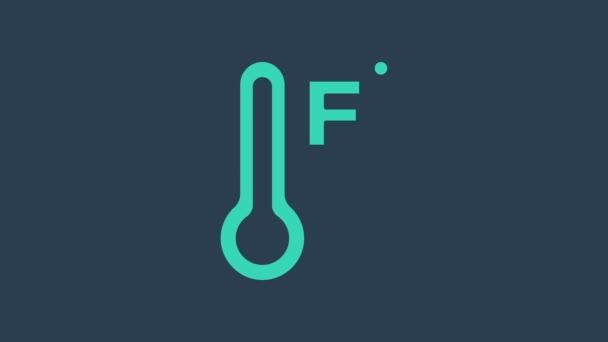 Türkiz Meteorológiai hőmérő, amely kék alapon izolált hőt és hideg ikont mér. Hőmérséklet Fahrenheit. 4K Videó mozgás grafikus animáció