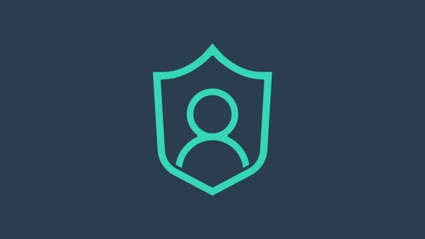 Turquoise User protection icon isolated on blue background. Secure user login, password protected, personal data protection, authentication. 4K Video motion graphic animation