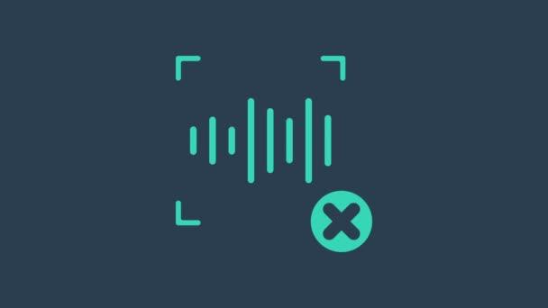 Türkis Rejection Spracherkennungssymbol isoliert auf blauem Hintergrund. Sprachbiometrische Authentifizierung des Zugangs zur persönlichen Identitätserkennung. 4K Video Motion Grafik Animation