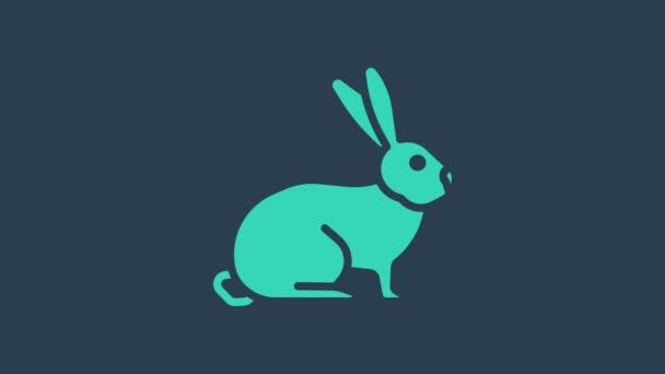 Türkis Kaninchen Symbol isoliert auf blauem Hintergrund. 4K Video Motion Grafik Animation