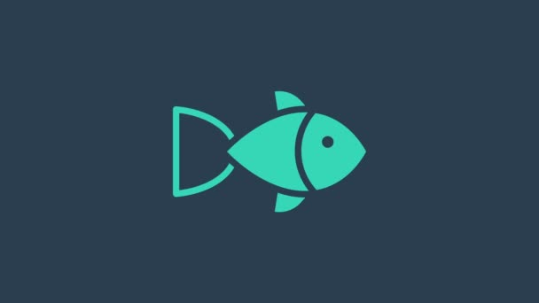Türkis Fisch Symbol isoliert auf blauem Hintergrund. 4K Video Motion Grafik Animation