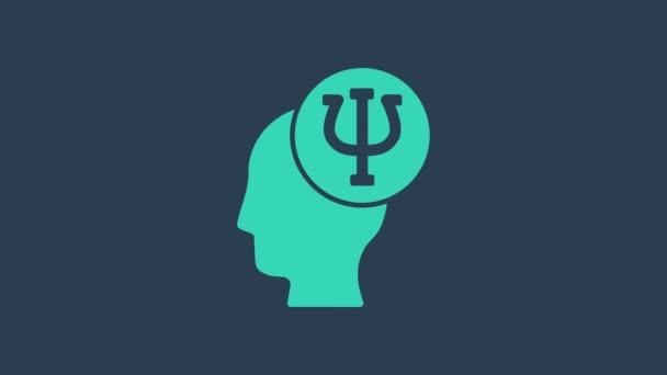 Türkiz Pszichológia ikon elszigetelt kék alapon. Pszi szimbólum. Mentális egészség koncepció, pszichoanalízis és pszichoterápia. 4K Videó mozgás grafikus animáció