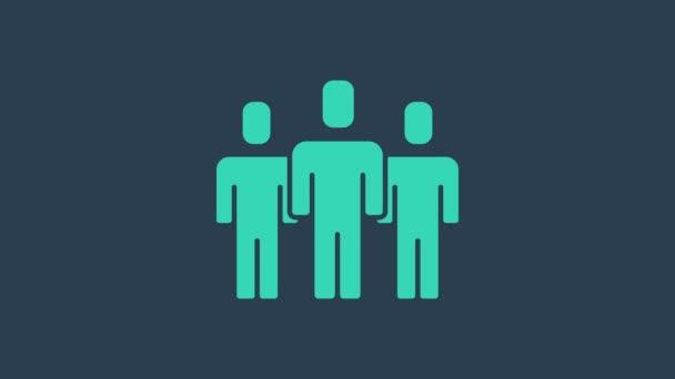 Turkuaz Kullanıcı grubu simgesi mavi arkaplanda izole edildi. Bir grup insan ikonu. İş simgesi - kullanıcı profili simgesi. 4K Video hareketli grafik canlandırması