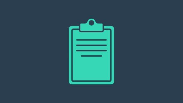 Türkisfarbenes Clipboard mit Checklisten-Symbol auf blauem Hintergrund. Kontrolllisten-Symbol. Umfrage oder Fragebogen-Feedback-Formular. 4K Video Motion Grafik Animation