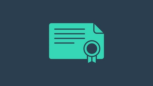 Ikona šablony tyrkysového certifikátu izolovaná na modrém pozadí. Úspěch, ocenění, titul, grant, diplomové koncepty. Grafická animace pohybu videa 4K