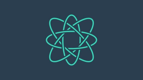 Türkiz Atom ikon elszigetelt kék alapon. A tudomány, az oktatás, a nukleáris fizika és a tudományos kutatás szimbóluma. 4K Videó mozgás grafikus animáció