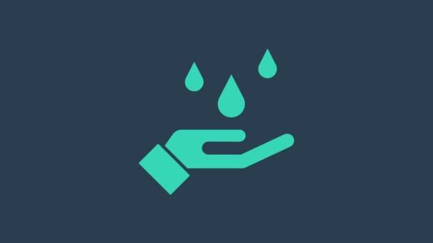 Türkis gewaschene Hände mit Seifensymbol auf blauem Hintergrund. Hände mit Seife waschen, um Viren und Bakterien vorzubeugen. 4K Video Motion Grafik Animation