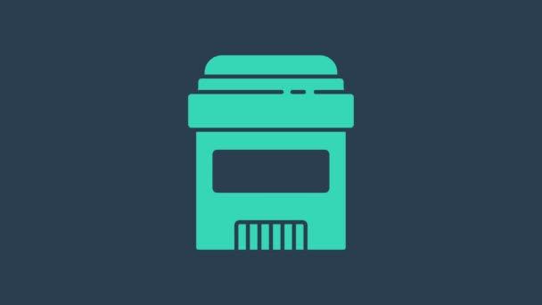 Tyrkysová Antiperspirant deodorant role ikona izolované na modrém pozadí. Kosmetika pro hygienu těla. Grafická animace pohybu videa 4K