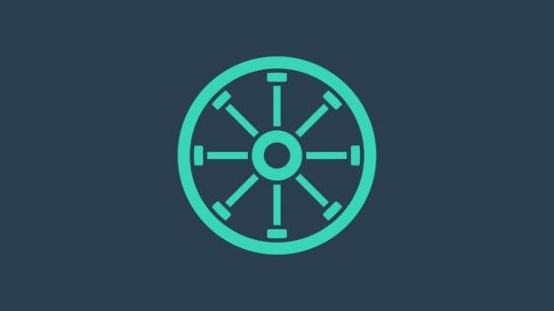 Türkiz Régi fa kerék ikon elszigetelt kék háttérrel. 4K Videó mozgás grafikus animáció