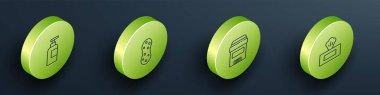 Set Isometric Bottle of shampoo, Sponge, Antiperspirant deodorant roll and Wet wipe pack icon. Vector. icon