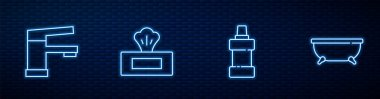 Set line Bottle for cleaning agent, Water tap, Wet wipe pack and Bathtub. Glowing neon icon on brick wall. Vector. icon