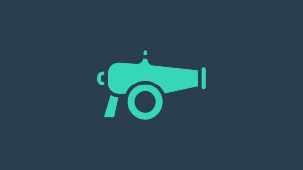 Turquoise Cannon icon isolated on blue background. 4K Video motion graphic animation