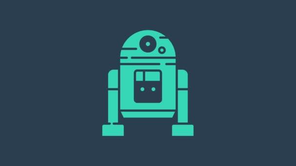 Tyrkysová ikona robota izolovaná na modrém pozadí. Grafická animace pohybu videa 4K