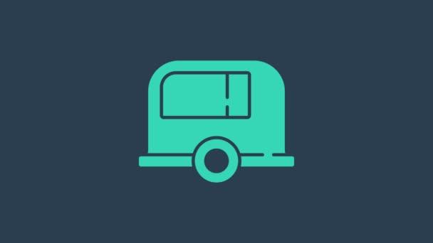 Türkis Rv Camping Anhänger Symbol isoliert auf blauem Hintergrund. Reisen Mobilheim, Wohnwagen, Wohnmobil für die Reise. 4K Video Motion Grafik Animation