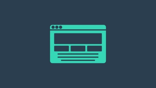 Türkisfarbenes UI oder UX Design Symbol isoliert auf blauem Hintergrund. 4K Video Motion Grafik Animation