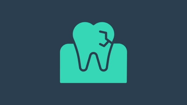 Turquoise Tooth with caries icon isolated on blue background. Tooth decay. 4K Video motion graphic animation