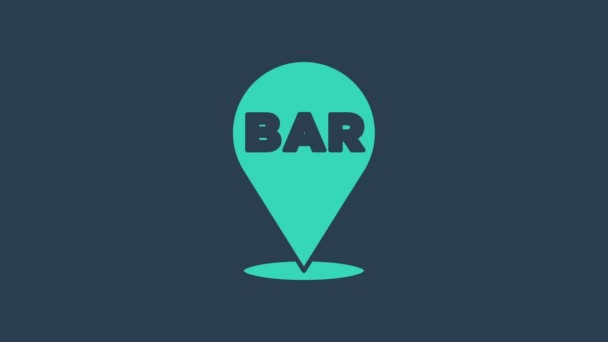 Turquoise Alcohol or beer bar location icon isolated on blue background. Symbol of drinking, pub, club, bar. 4K Video motion graphic animation