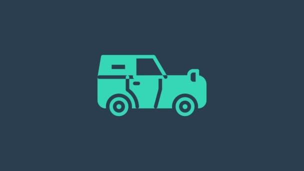 Türkisfarbenes Geländewagen-Symbol auf blauem Hintergrund. Jeep-Schild. 4K Video Motion Grafik Animation