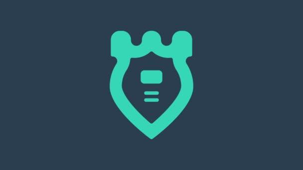 Türkiz Rendőrségi jelvény ikon elszigetelt kék alapon. Seriff jelvény. 4K Videó mozgás grafikus animáció