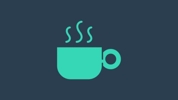 Turquoise Coffee cup icon isolated on blue background. Tea cup. Hot drink coffee. 4K Video motion graphic animation