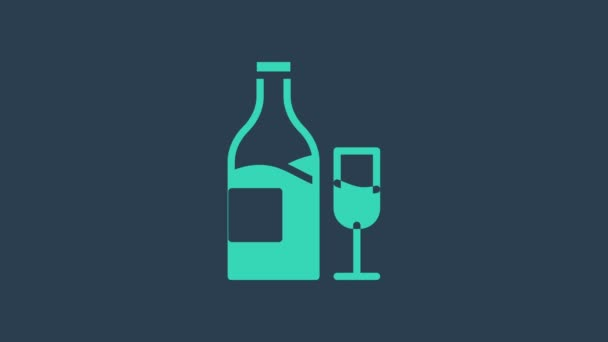 Turquoise Wine bottle with glass icon isolated on blue background. 4K Video motion graphic animation