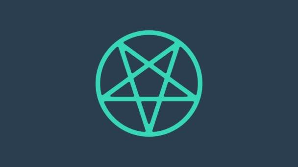 Türkiz Pentagram egy kör ikon elszigetelt kék alapon. Varázslatos okkult csillag szimbólum. 4K Videó mozgás grafikus animáció