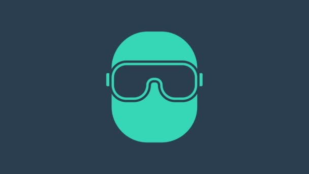 Turquoise Ski goggles icon isolated on blue background. Extreme sport. Sport equipment. 4K Video motion graphic animation