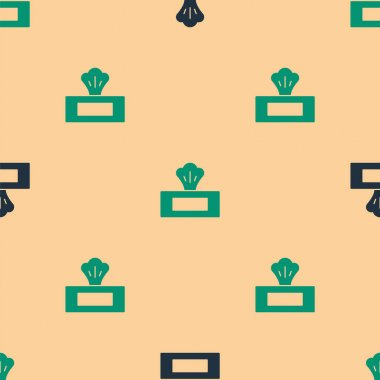 Green and black Wet wipe pack icon isolated seamless pattern on beige background.  Vector. icon