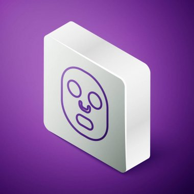 Isometric line Facial cosmetic mask icon isolated on purple background. Cosmetology, medicine and health care. Silver square button. Vector. icon