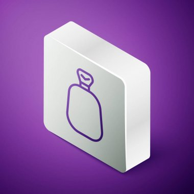 Isometric line Full sack icon isolated on purple background. Silver square button. Vector. icon
