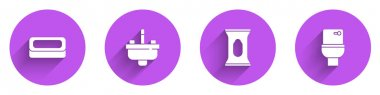 Set Bar of soap, Washbasin with water tap, Wet wipe pack and Toilet bowl icon with long shadow. Vector. icon