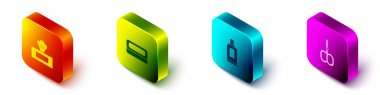 Set Isometric Wet wipe pack, Bar of soap, Bottle for cleaning agent and Nail scissors icon. Vector. icon