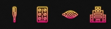 Set line Reddish eye, Medical thermometer, Pills in blister pack and hospital building. Glowing neon icon. Vector. icon