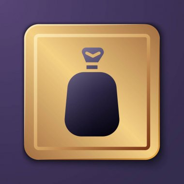 Purple Full sack icon isolated on purple background. Gold square button. Vector. icon