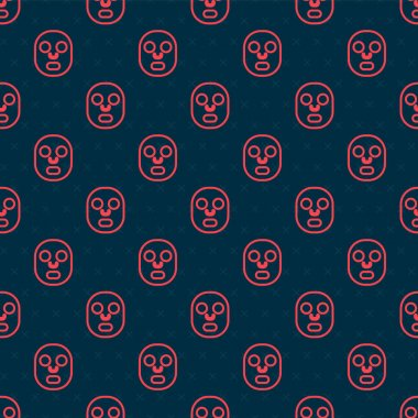 Red line Facial cosmetic mask icon isolated seamless pattern on black background. Cosmetology, medicine and health care.  Vector. icon