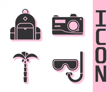 Set Diving mask and snorkel, Hiking backpack, Tropical palm tree and Photo camera icon. Vector. icon