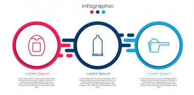 Set line Bottle of shampoo, Condom and Washing powder. Business infographic template. Vector. icon