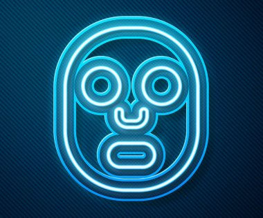 Glowing neon line Facial cosmetic mask icon isolated on blue background. Cosmetology, medicine and health care.  Vector. icon