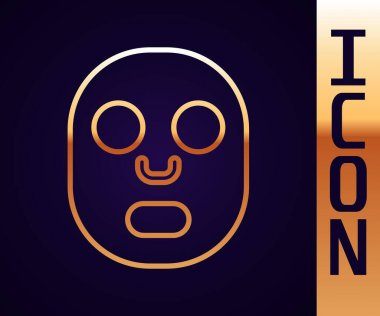 Gold line Facial cosmetic mask icon isolated on black background. Cosmetology, medicine and health care.  Vector. icon