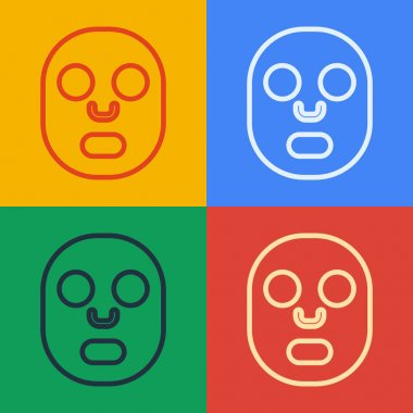 Pop art line Facial cosmetic mask icon isolated on color background. Cosmetology, medicine and health care.  Vector. icon